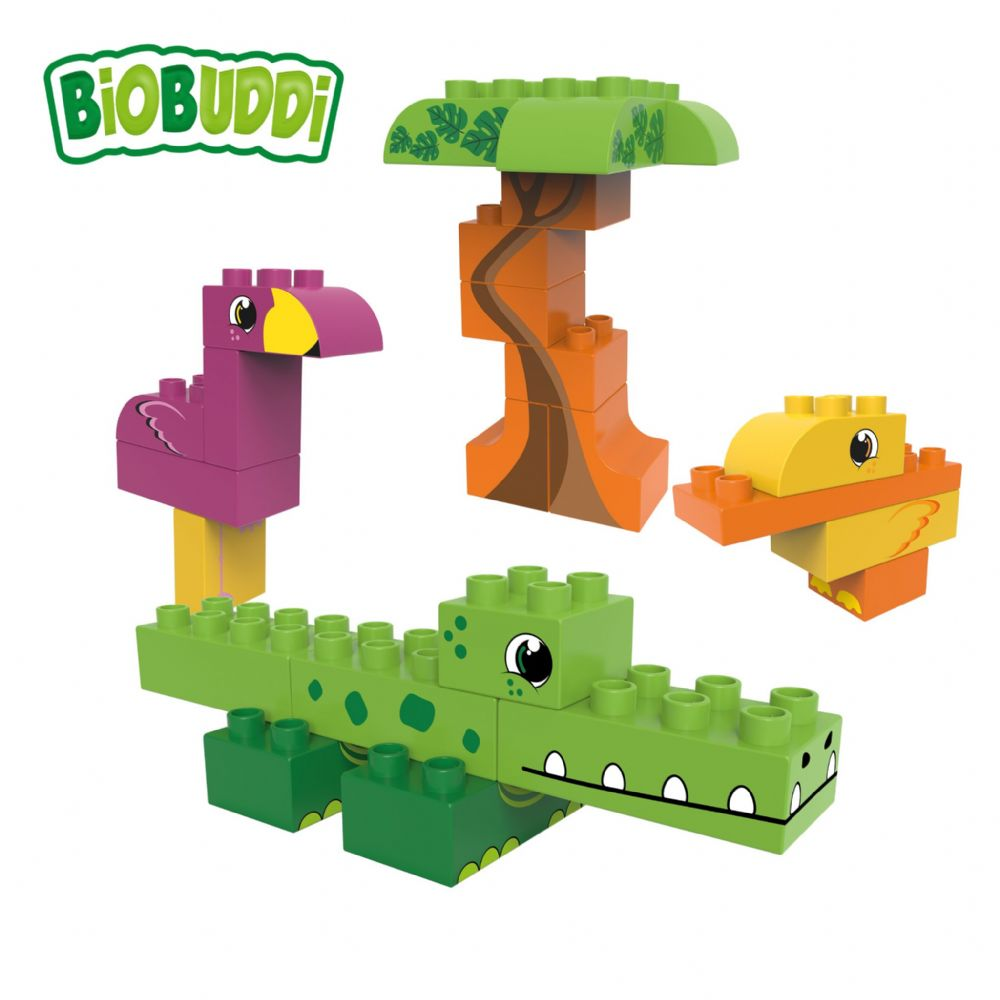 BiOBUDDi - Lagoon Crocodile, Duck, Flamingo & Tree - 25 Blocks